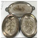 Three silver plated platters