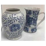 Pair of Chinese style blue and white ceramics