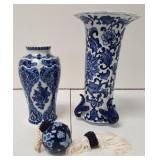 Blue Asian decorative floral vases