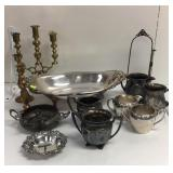 Silver plate cream and sugar and brass