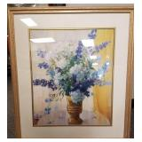 Framed picture of flowers triple matted