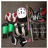 Group of lacrosse items