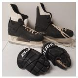 Ice skates and hockey gloves