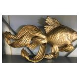 3 decorative hanging gold colored fish