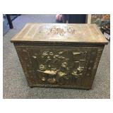 Metal covered firewood cabinet