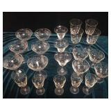 Floral design glass stemware