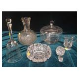 Assorted intricate cut decorative glass