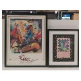 Pair of colorful prints in frame