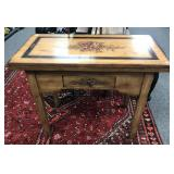 French style table with flip top and single drawer