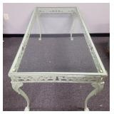Vintage glass top patio table w/ cast metal frame
