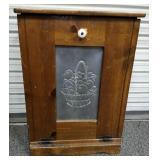 Pine trash bin cabinet