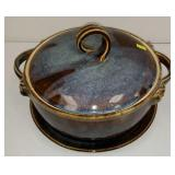 Glazed art pottery dish