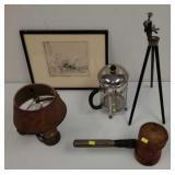Vintage Kodak tripod, mallet, lamp and print