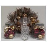 Wreath, ornaments & decanter