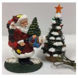 Cast metal Santa doorstop & ceramic Christmas tree
