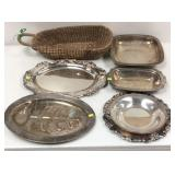 Six silver plate and silver colored platters and