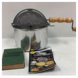 Girl Scout handbook and popcorn popper