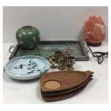 Asian tray, vase, bowl, aperitif cups, salt lamp,