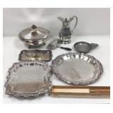 Silver plated trays and other items