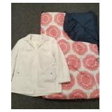 Navy and pink comforter with London Fog jacket