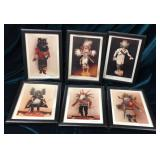 Six framed pictures of Hopi Kachina dolls