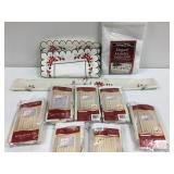 Holiday table cloth, table runner, 7 curtain sets