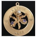 """Vintage 14K gold """"Mother Dear"""" pendant"""