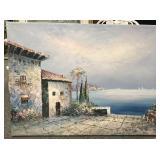 Oil or acrylic seaside scene on canvas