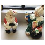 Santa and Mrs Claus ceramic figures