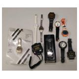 Group of wristwatches and digital stop watch