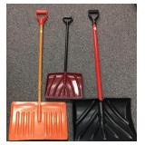 Three snow shovels
