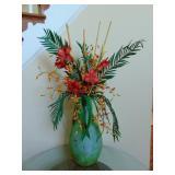 Metal vase w/ arrangement