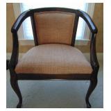 Dark wood framed armchair