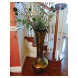 Tall glass vase w/ arrangement