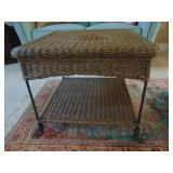 Wicker and iron side table