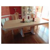 Bleached wood dining table w/ leaf
