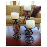 Set of 3 iron candle holders