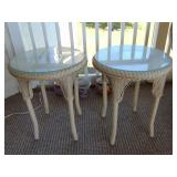 Pair of wicker side tables w/ glass tops