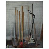 Lot of asst hand tools, post hole digger, etc