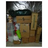 Lot of 9 boxes assorted Christmas decor, wrapping