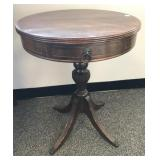 Vintage mahogany pedestal / drum table with drawer