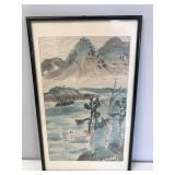 Original Asian Framed Watercolor
