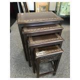 Set of 4 Vintage Carved Oriental Nesting Tables