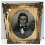 Ornate Antique Frame with Portrait of Man