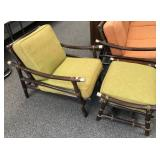 Vintage Rattan Chair and Ottoman, matches lot #60