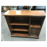 Low Oak Bookcase with Cabinet