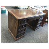 Oak Finish Knee Hole Desk