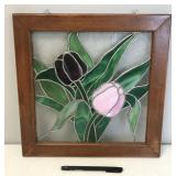 Wood Framed Stained Glass Tulip Sun Catcher