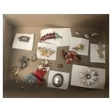 Lot of Vintage Brooches, Earrings