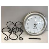 Westclox Battery Operated Clock and Wine Bottle